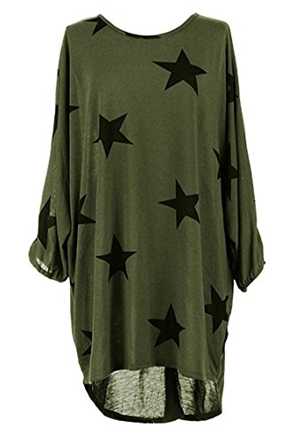 NEWCOSPLAY Women's Loose five-pointed star print T-shirt dress (M, Green)