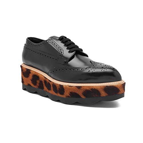 - Prada Women's Leather Platform Wedge Shoes Black