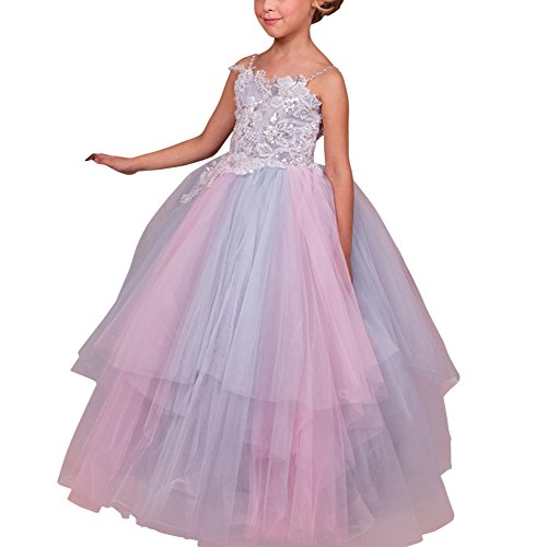 Flower Girls Vintage Lace Princess Graduation Holy Communion Tulle Dress Stunning Pageant Prom Ball Evening Dance Gowns #15 Rainbow 6-7 Years ()