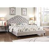 Home Life Platform Bed, King, Light Grey