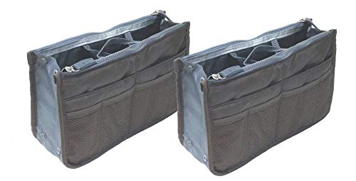 Two Pack of Purse Organizer Insert Handbag Pouch Tidy & Neat with 13 Pocket (Gray)