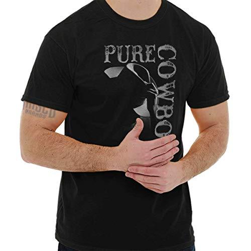 Pure Cowboy Country Farmer Southern Western T Shirt Tee Black