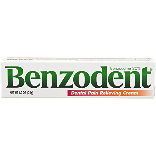 Benzodent Dental Pain Relieving Cream, 1 Ounce Tube, Topical Anesthetic for Oral Discomfort from Dentures, Braces, or Canker Sores
