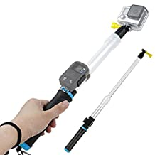 First2savvv Waterproof Transparent Telescopic Extension Pole Selfie Stick and Floating Hand Grip For GoPro Hero 6 5 4 Silver Black Hero 4 3+ 3 2 Session With Cradle for WiFi Remote - GO-GAN-B03