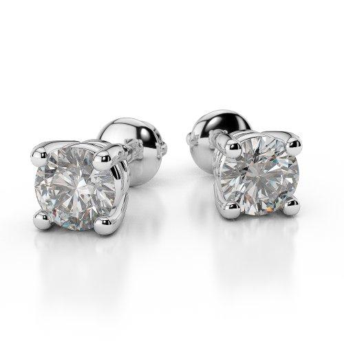 Or blanc 18carats 0,10ct G-H/VS sertie de diamants Forme ronde Boucles d'oreilles à tige Ager-1009