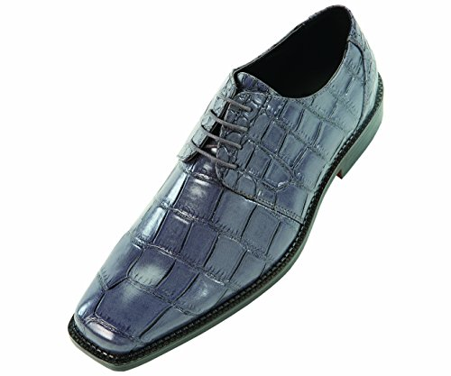 Bolano Mens Wide Width Grey Exotic Faux Large Croco Print Embossed Oxford Dress Shoe: Style Saco-ww-Wide Width Grey-011