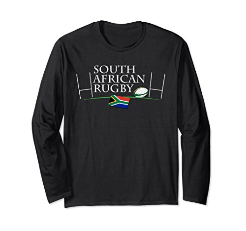 Flag Cotton Rugby Shirt - Unisex South African Rugby & South Africa Flag Long Sleeve T Shirt XL: Black