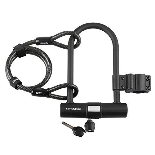 Titanker U Lock Bike Lock, Heavy Duty Keys Bike U Shackle Secure Locks Bicycle Lock Set Anti Theft for Road Bike Mountain Bike (15.5mm U Lock + Steel Cable + Mount Bracket)