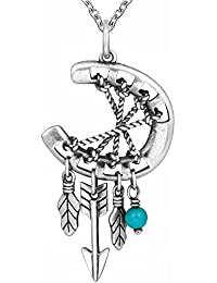 "<span class=""a-offscreen"">[Sponsored]</span>925 Sterling Silver Red Indian Charm Horseshoe Necklace Dreamcatcher Pendant Feather with Arrows Gifts Jewelry..."