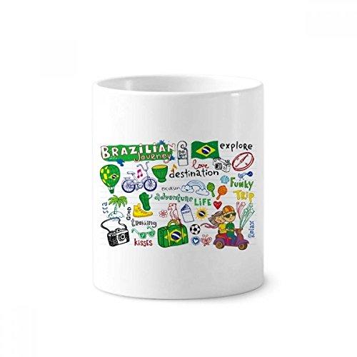 Journey Ceramic Mug - Adventure Life Brazil Journey Brazil Ceramic Toothbrush Pen Holder Mug White Cup 350ml Gift