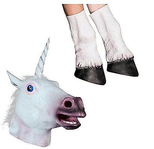 Horse Ears And Tail Costume (Miyaya Novelty Unicorn Head Latex Mask + Unicorn Hooves Gloves)