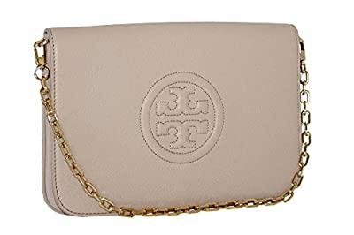 Tory Burch Leather Bombe Convertible Clutch Light Oak