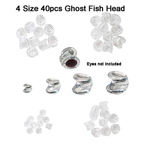 Aventik Ghost Fish Head 40pcs Pack Best Selected Sizes Fly Tying Materials Super Realistic Baitfish Skull Mask Design Ultra Light Living Eyes Not Included