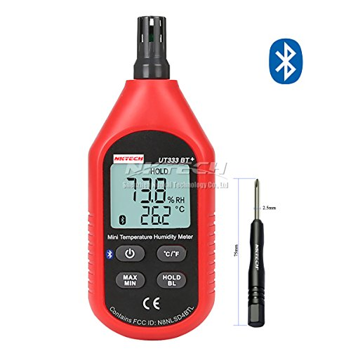 Price comparison product image NKTECH UT333BT+ Bluetooth Mini LCD Digital Air Temperature Humidity Meter Thermometer Hygrometer Gauge Max/Min Value Display Indoor °C/°F Test With TL-1Screwdriver