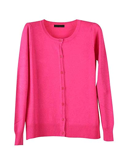 Moda Cappotto Breasted Manica Collo Casual Mode Autunno Elegante Rotondo Monocromo color Single S Cardigan Maglia Marca A Lunga Donna Rose In Di Pullover Top Size t0Exqa