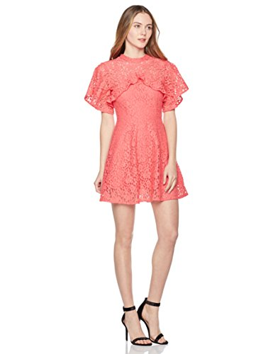 Painted Heart Women's Bell-Sleeve High-Neck Lace Dress Large Hot Pink