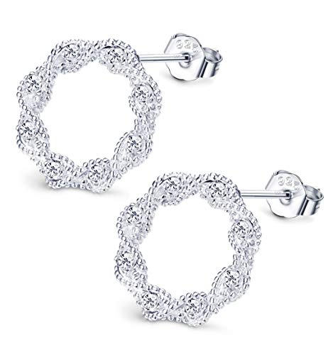 (Sllaiss Made with Swarovski Zirconia Rope Round Circle Stud Earrings for Women Girls 925 Sterling Silver Twist Open Circle Stud Earrings Hypoallergenic Bridesmaids Jewelry)