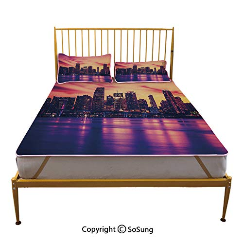 United States Creative Full Size Summer Cool Mat,View of Miami at Sunset Building Urban Modern City Life Ocean Skyline Sleeping & Play Cool Mat,Purple Pink Peach