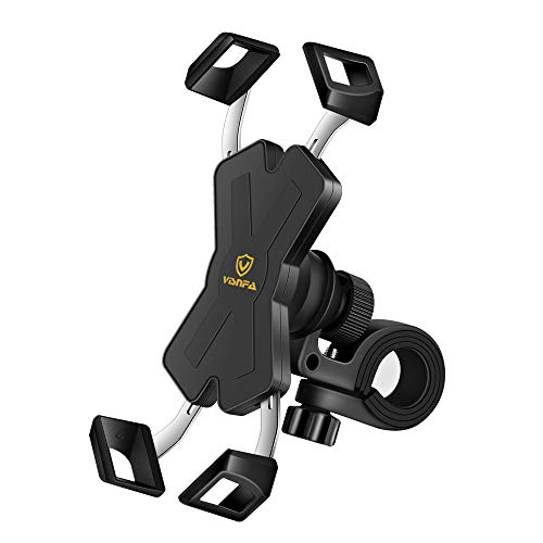 (visnfa New Bike Phone Mount with Stainless Steel Clamp Arms Anti Shake and Stable 360° Rotation Bike Accessories/Bike Phone Holder for Any Smartphones GPS Other Devices Between 4 and 7 inches)