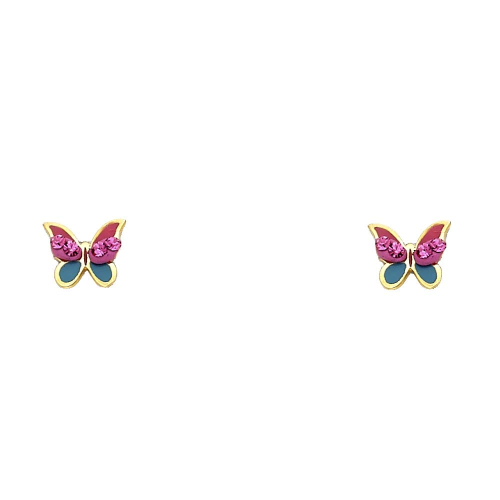 Wellingsale 14K Yellow Gold Polished Color Crystal Butterfly Stud Earrings With Screw Back