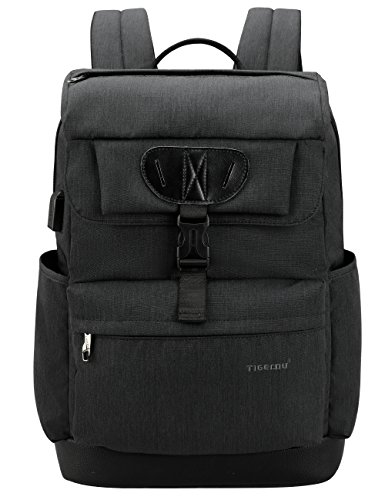 Tigernu College Laptop Backpack School Bookbag with USB Charging Port for Women Men Water Resistant Travel Computer Bag Fits 15.6 inch Laptop/MacBook - Black ()