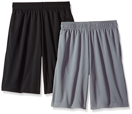 Hanes Boys' Big Sport 9 Inch Performance Mesh Pocket Short (Pack of 2), Concrete/Black, XXL ()