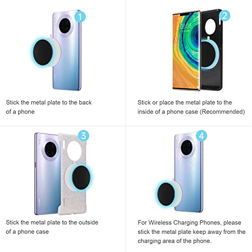 Calamite per cellulare auto, Supporto telefono auto con Placche metallo incollato al cruscotto | Wall - MENNYO Supporti cellulari auto compatibile con iPhone Samsung Galaxy / Note Huawei ecc.