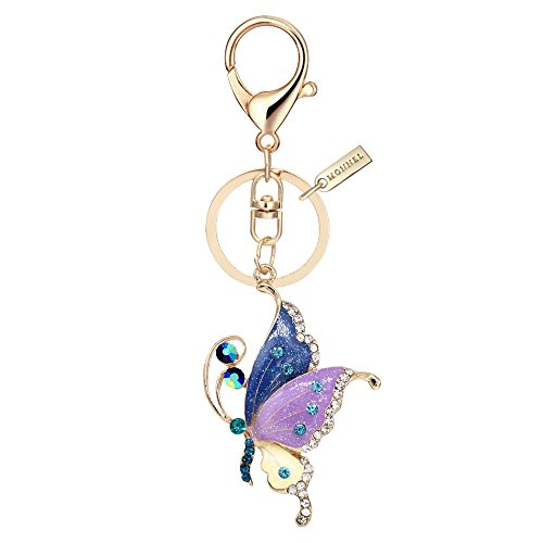 Butterfly Key Rings - Bling Purple Style Butterfly Keychain Key Ring with Pouch Bag MZ847-1
