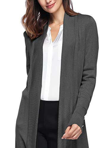Spicy Sandia Open Front Knit Cardigans Women Lightweight Cover-up Long Sleeve Cardigan Sweaters, Dark Grey, Medium