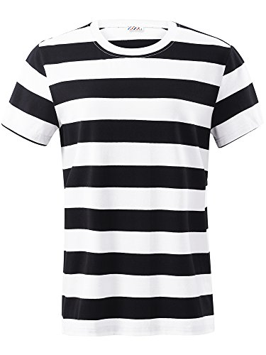 VETIOR Men's Cotton Round Neck Short Sleeve Casual Summer Striped T-Shirt ()