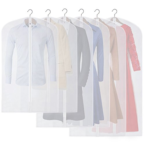 CM CUMIZON Garment Bags Translucent Hanging Garment Covers (Set of 6) for Dance Costumes Gown Dress Clothes Storage 24