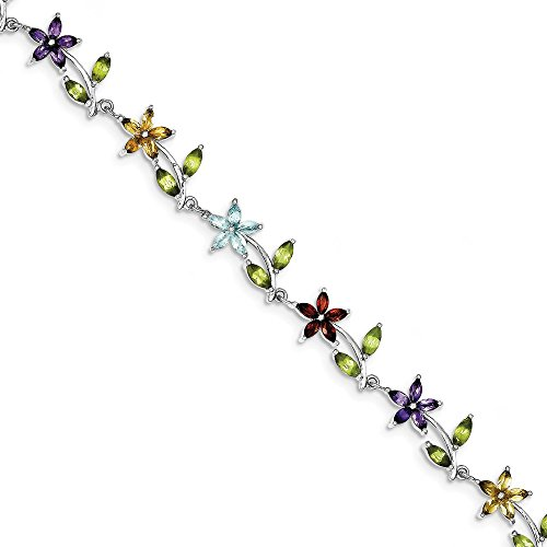 Sterling Silver 7.75inch Rhod Plated Multi-color Semi-precious Bracelet by CoutureJewelers