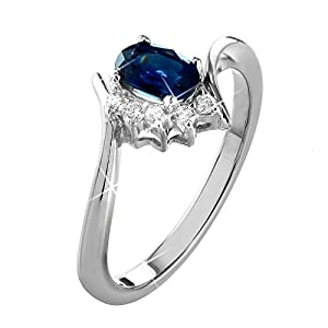 0.65 Ct. Natural White Diamond & Blue Sapphire Engagement Ring Bypass Style In 14K White Gold For Women