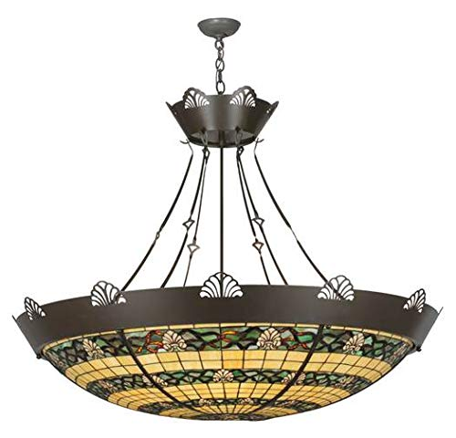 Meyda Tiffany Custom Lighting 113950 Shell and Ribbon 8-Light Inverted Pendant, Timeless Bronze Finish with Beige and Green Stained Art Glass Shade