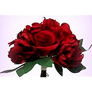 Inna-Wholesale Art Crafts New Roses Peonies Bouquet RED Artificial Decorating Flowers Hand Tied Centerpieces - Perfect for Any Wedding, Special Occasion or Home Office D?cor 11
