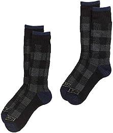 Premium Steel Toe Thermal Buffalo Plaid Wool Crew Socks (2-Pack) 10-13 (Charcoal Gray Plaid)