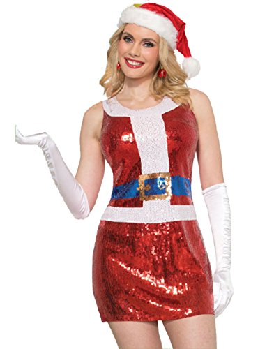 Sexy Waldo Dress Costumes (Sexy Mrs. Santa Claus Sparkly Red Sequins Costume Fancy Dress Christmas Women)