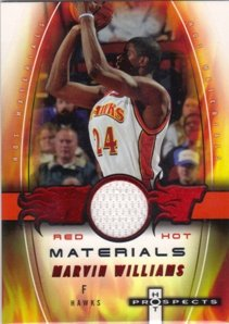 07 Hot Prospects Materials - 2006-07 Hot Prospects Hot Materials Jersey Red Hot #MW Marvin Williams Jsy /25