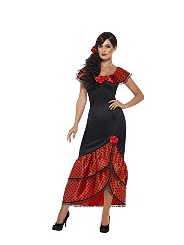 Smiffys Women's Flamenco Senorita Costume, Dress and Headpiece, Around the World, Serious Fun, Size 6-8, 45514 ()