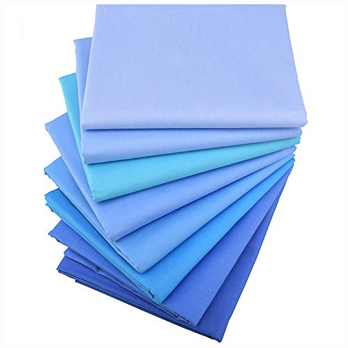 Solids Blues 8 Fat Quarters Quilting Fabric Bundles, Precut Cotton Fabric for Sewing Crafting,(Solids Blue)]()