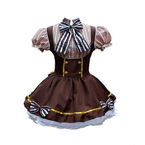 KLFGJ Ladies Gothic Costumes Women Short Sleeve Dress High Waist Party Cosplay Mini Dress with Bow