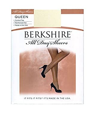 Berkshire Women's Plus-Size Queen All Day Sheer Control Top Pantyhose with Toe