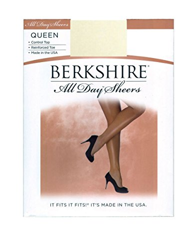 Berkshire Womens Plus-Size Queen All Day Sheer Control Top Pantyhose with Toe