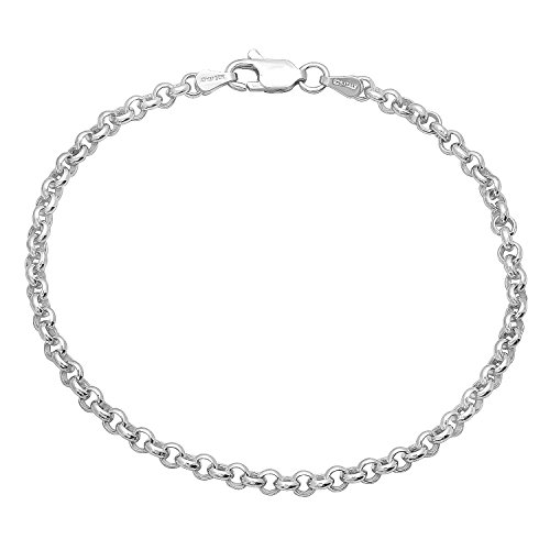 (925 Sterling Silver Rhodium Plated 3.2mm Rolo Link Bracelet, 8