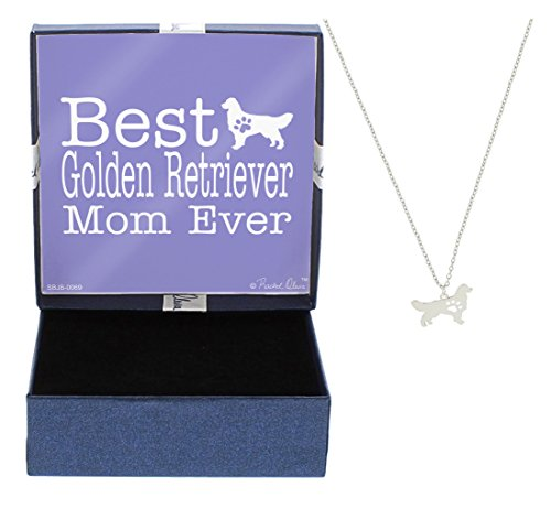 Mother's Day Gifts Best Golden Retriever Mom Ever Dog Breed Silhouette Dog Paw Heart Necklace Jewelry Golden Retriever Necklace Gift for Golden Retriever Owner Mothers Day Gift Idea For A Dog Mom (Golden Retriever Gift)