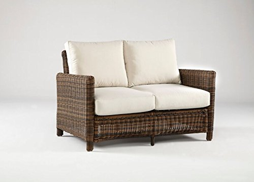 South Sea Rattan Del Ray Collection Loveseat with Cushions, Jockey Red