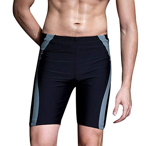 Big Boys Rapid Jammer UPF 50 Soft High Elastic Wasitline Drawstring Competition Swim Trunks 13-14T Black/Grey