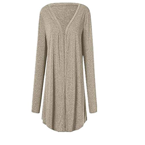 - Kulywon Women Casual Plus Size Long Sleeve Pure Color Fit Open Front Coat Outwear