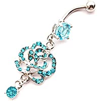 Dedegui 14g Blue Rose Dangle Belly Button Navel Ring Body Piercing Jewelry
