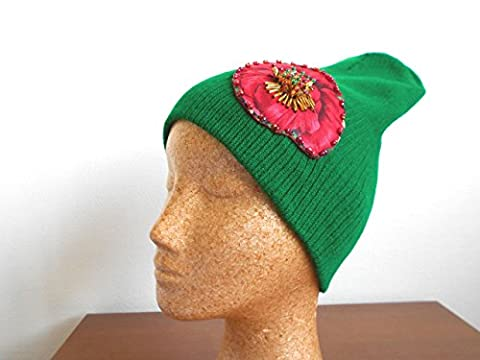 Green Slouchy Beanie Hat with embellished red poppy applique hand beaded - Chanel Green